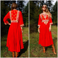 70s Native Indian Dress, Red Pleated Midi, Boho Embroidered Dress, Ethnic Mirrored Caftan, Hippie Tunic, Bohemian, Gypsy, Festival Dress