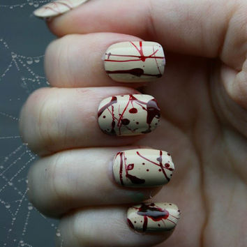 Gothic Fake Nail Art- Splatter Press On Nails