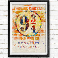 Hogwarts Express Platform Watercolor Print, Harry Potter Baby Nursery Decor, Wall Art, Home Decor, Gift Idea, Not Framed, Buy 2 Get 1 Free!