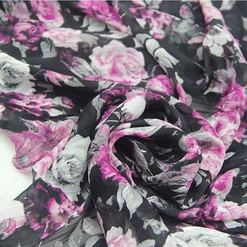 black with rose Red big rose Chiffon thin fabric textile cloth for DIY summer elegant beach dress skirt blouse sewing tela
