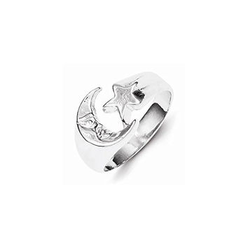 Sterling Silver Moon & Star Ring, Best Quality Free Gift Box Satisfaction Guaranteed