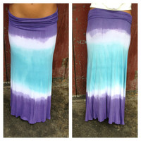Purple & Blue Dye Maxi Roll Down Skirt