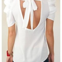 White Puff Sleeve Blouse with Open Tie Back