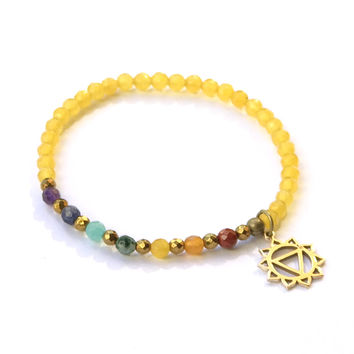 Solar Plexus Chakra Delicate Bracelet, with Chakra Gemstones and Yellow Jade