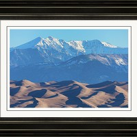 Snow Covered Rocky Mountain Peaks With Sand Dunes Framed Print