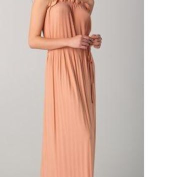 NWT Susana Monaco Mila Pleated Maxi Dress in Apricot, Size 4