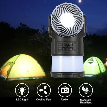 Novelty Portable Outdoor Camping Lantern Tent Light Lamp Multi-Function with Cooling Fan Radio Mosquito Repeller for Hiking Fish