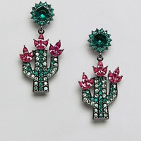 ASOS DESIGN Jewel Cactus Drop Earrings at asos.com