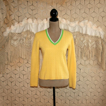 Vintage Tommy Hilfiger Yellow Sweater V Neck Pullover Sweater Cotton Preppy Sweater Women Sweaters Cable Knit Petite Small Womens Clothing