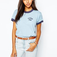 Camp Collection Retro Ringer T-Shirt With Cabin Print