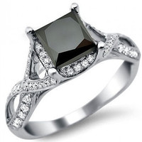 4.00 ct  Princess Cut Black diamond Solitaire ring with White Diamonds in silver