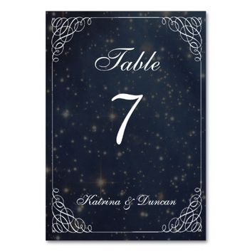 Elegant Swirl Starry Space Personalized Table Card