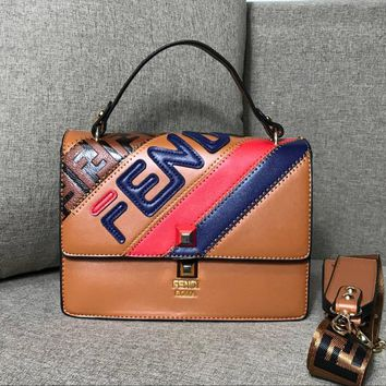 Fendi 2018 new retro hit color small square bag shoulder Messenger bag Brown