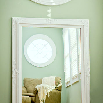 "Large BATHROOM MIRROR Large MANTEL Mirror 44""x32"" Dining Room White Framed Vanity Mirror Shabby Chic"