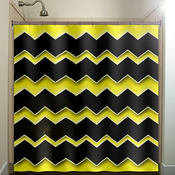 bee yellow 3D chevrons shower curtain bathroom decor fabric kids bath white black custom duvet cover rug mat window