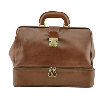 Genuine Leather Doctor Bag with Double Bottom