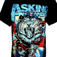 ASKING ALEXANDRIA Tiger Rock Band Music Heavy Metal Guitar T Shirt Size M L