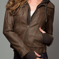 Vegan Leather Hooded Jacket in Brown