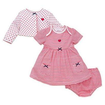 Little Me Baby Girls' 3 Piece Short Sleeve Knit Dress With Cardigan