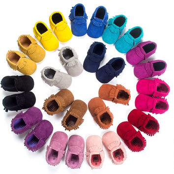 2017 New Suede pu leather Newborn Baby Infant Toddler shoes baby Moccasins Soft Mocc Bebe Soft Sole Non-slip Prewalker Shoes