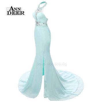 ANN DEER W132 Sexy Mermaid Prom Dress with Slit Real Photos Long Prom Dresses 2016 Formal Dress Gown Robe De Soiree Longue