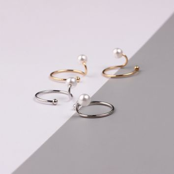 Simple style pearl u-shaped opening ring, snake personality ring