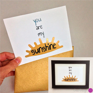 You Are My Sunshine Art Piece. Sweet and sassy wall art. To be framed. Gold, sparkly, metallic.