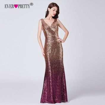 Sequin Prom Dress 2018 Ever Pretty EP07471GD New Elegant Mermaid Deep V-Neck Sparkle Long Wedding Party Gowns Vedtidos De Festa