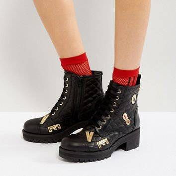 Love Moschino Quilted Hardware Lace Up Boots at asos.com