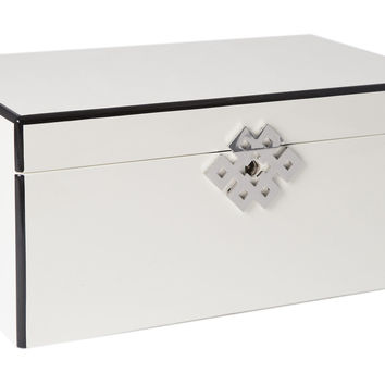 Lacquer Locking Jewelry Case, White, Cufflink Storage