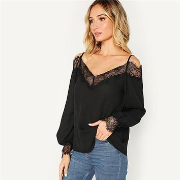 Black Lace Trim Cold Shoulder Lantern Sleeve Solid Women Blouse Lady Elegant V-Neck High Street Top Blouses