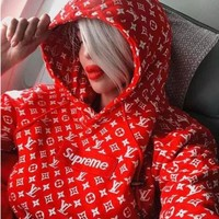 Supreme x LV Women Men Embroidered Long Sleeve Top Sweater Hoodie