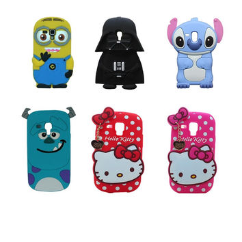 Cute Cartoon Hello Kitty Anime Star Wars darth Vader Stitch Minions Case Fundas For Samsung Galaxy S3 mini GT I8190 Phone Cover