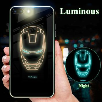 Luxury Glass Ironman Case For iphone 6S 6 S Plus X 10 Anime Luminous Batman 8plus 7plus 6+ Cover For iphone 7 8 plus Phone Cases
