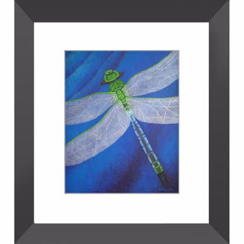 Resilience - Dragonfly Framed Print of Acrylic Painting Fine Art