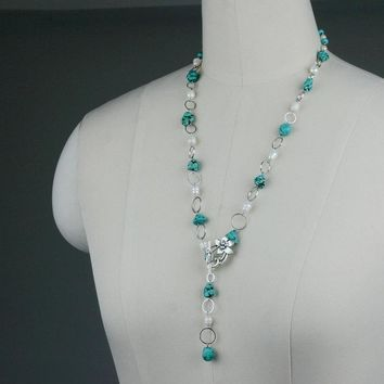 turquoise pearl beaded lariat necklace Bridesmaids gifts Free US Shipping handmade Anni Designs