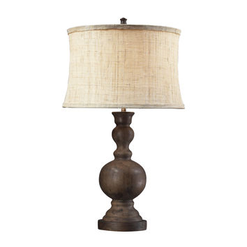 Westbridge Wooden Table Lamp with Hand Woven Natural Linen Shade