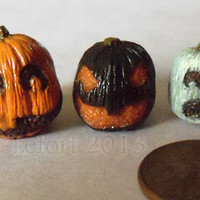 Miniature Jack-O-Lantern Trio -  Orange, Black, and White - One Inch Scale Fall Decor