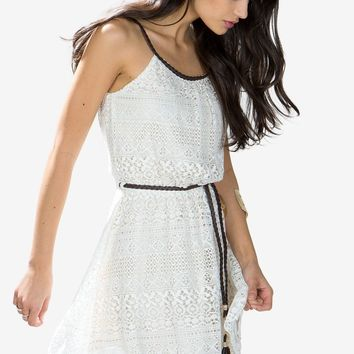 Honor PU Belted Lace Dress
