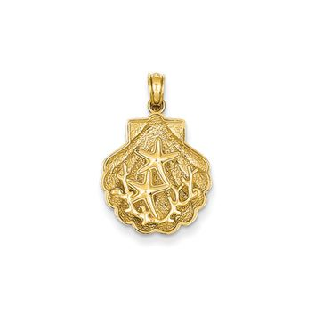 14k Yellow Gold Starfish and Coral in a Scallop Shell Pendant