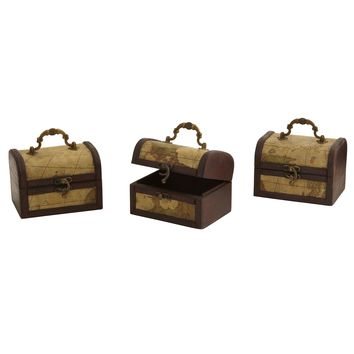 Decorative Storage Chest Jewelry Boxes with Map Designs-Set of 3