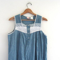 vintage light denim  cotton long night gown dress / country pajamas / day dress with lace