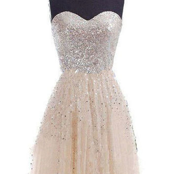 Short Homecoming Gowns 2016 Champagne Sequins Stitching Sleeveless Princess Mini Tube Dress