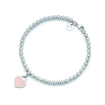 Tiffany & Co. -  Return to Tiffany™ bead bracelet in silver with pink enamel finish, medium.