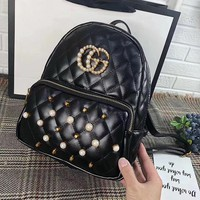 GUCCI Women Casual School Bag Cowhide Leather Backpack-1
