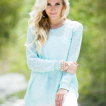 Run Away With You Lace Shoulder Sweater Mint