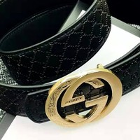 GUCCI 2019 new double G embossed wild smooth buckle belt