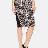 Women's Vince Camuto 'Tribal Leopard' Contrast Trim Pencil Skirt,