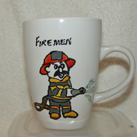 Hand Painted Fireman Coffee Cup, Ceramic Coffee Mug