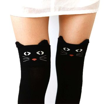 Adorable Kitty Cat Face Animal Themed Over the Knee Thigh High Cotton Socks in Black or Navy